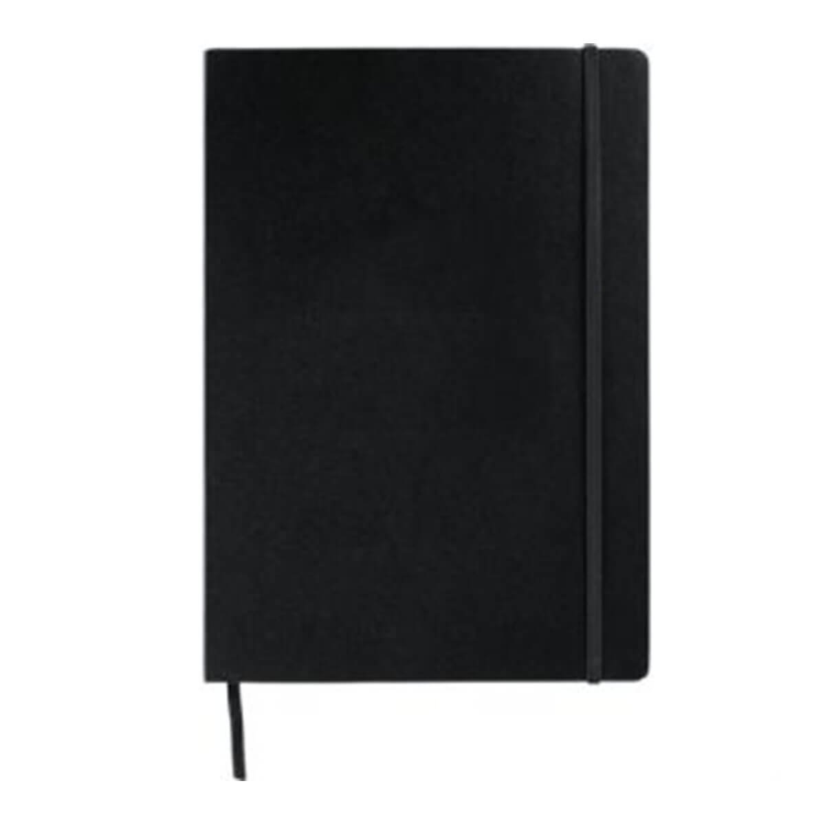 Ambassador Large Bound JournalBook-Black with black elastic.