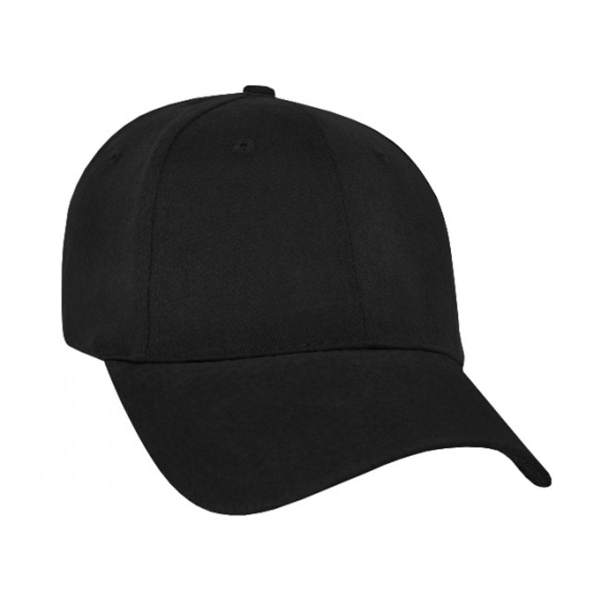 Heavy Brushed Cotton Suede Peak Cap-Black