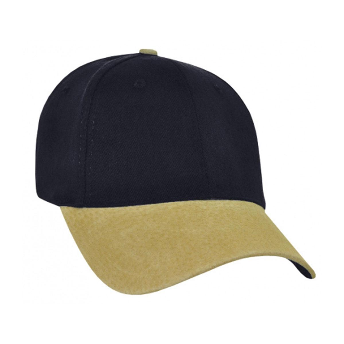 Heavy Brushed Cotton Suede Peak Cap-Navy / Tan