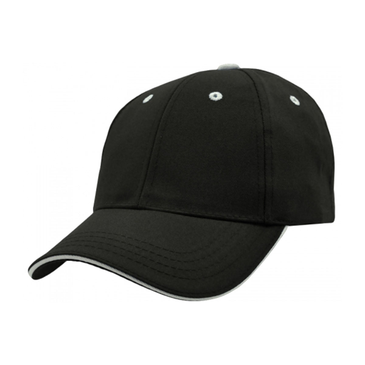 PET/Cotton Sandwich Cap-Black / White