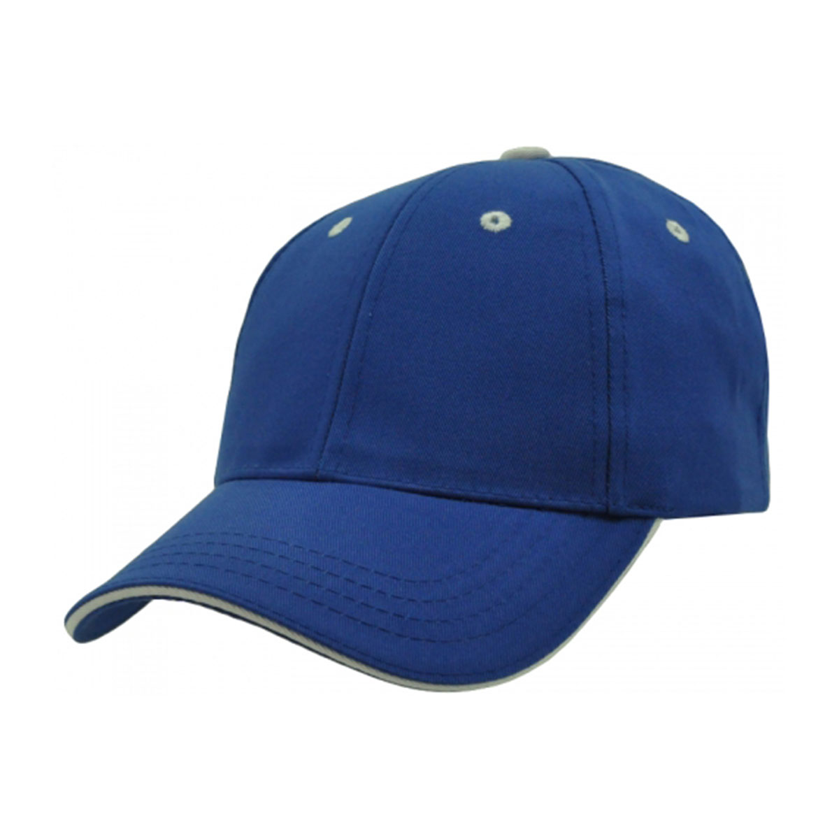 PET/Cotton Sandwich Cap-Royal / White