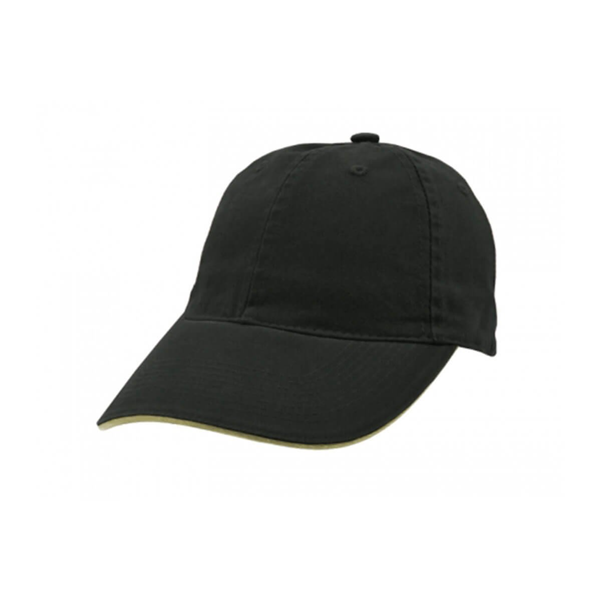 Enzyme Washed Cap with Sandwich-Black / Khaki