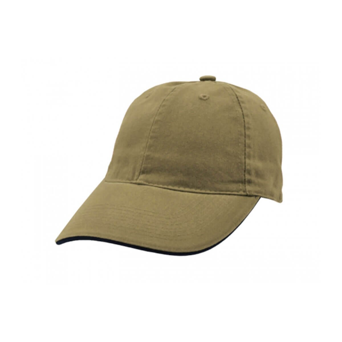 Enzyme Washed Cap with Sandwich-Khaki / Navy