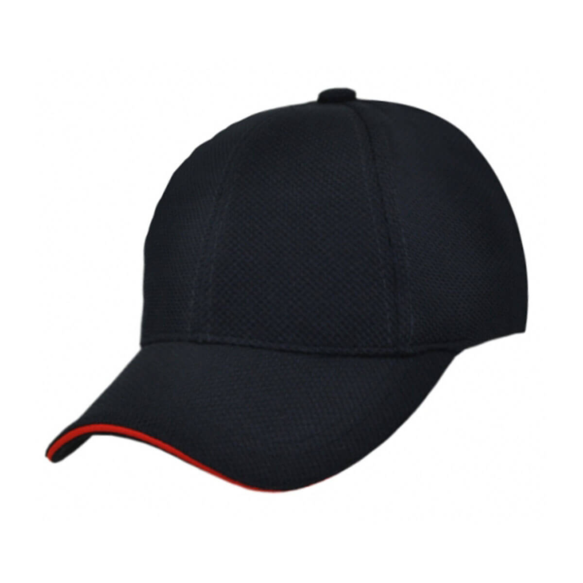 PQ Mesh Plain Sandwich Design Cap-Black / Red