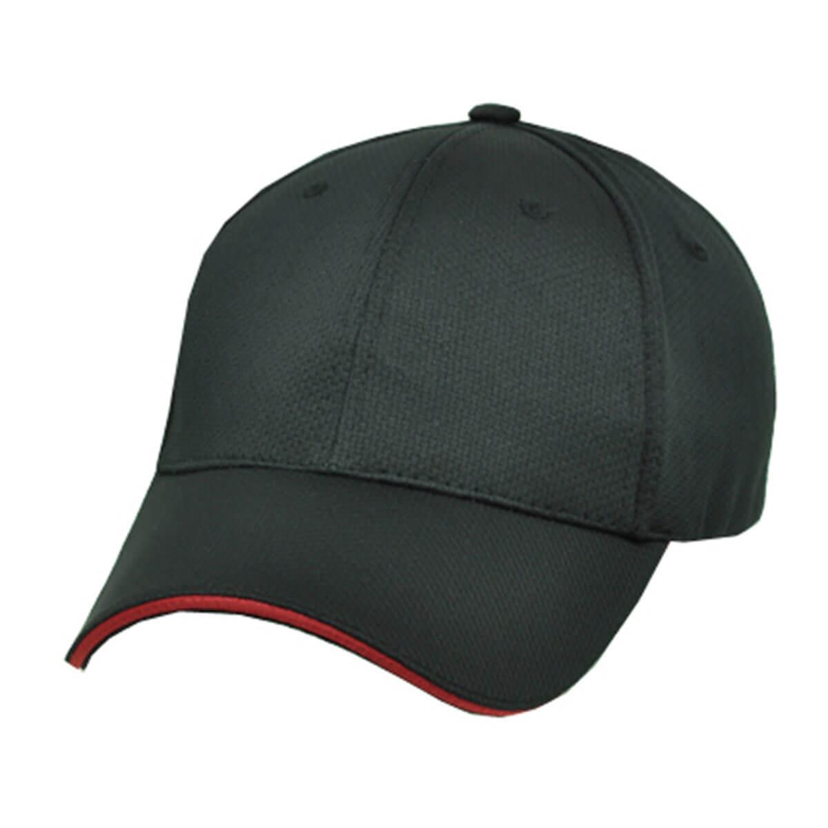 100% RPET Cap-Black / Red