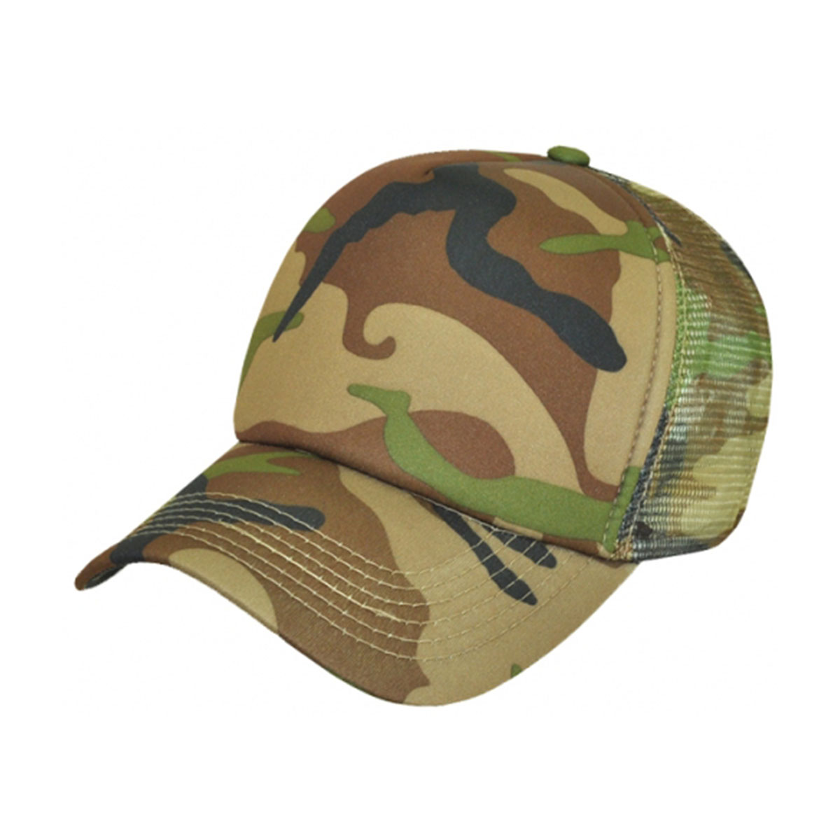 Camouflage Truck Cap-Army Green / Brown