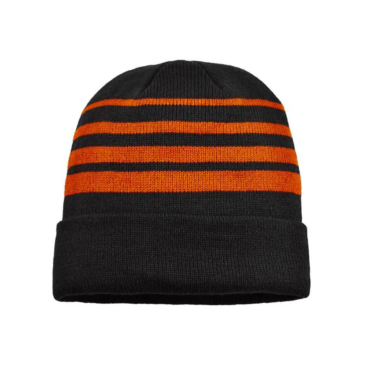 Acrylic Beanie-Black / Orange