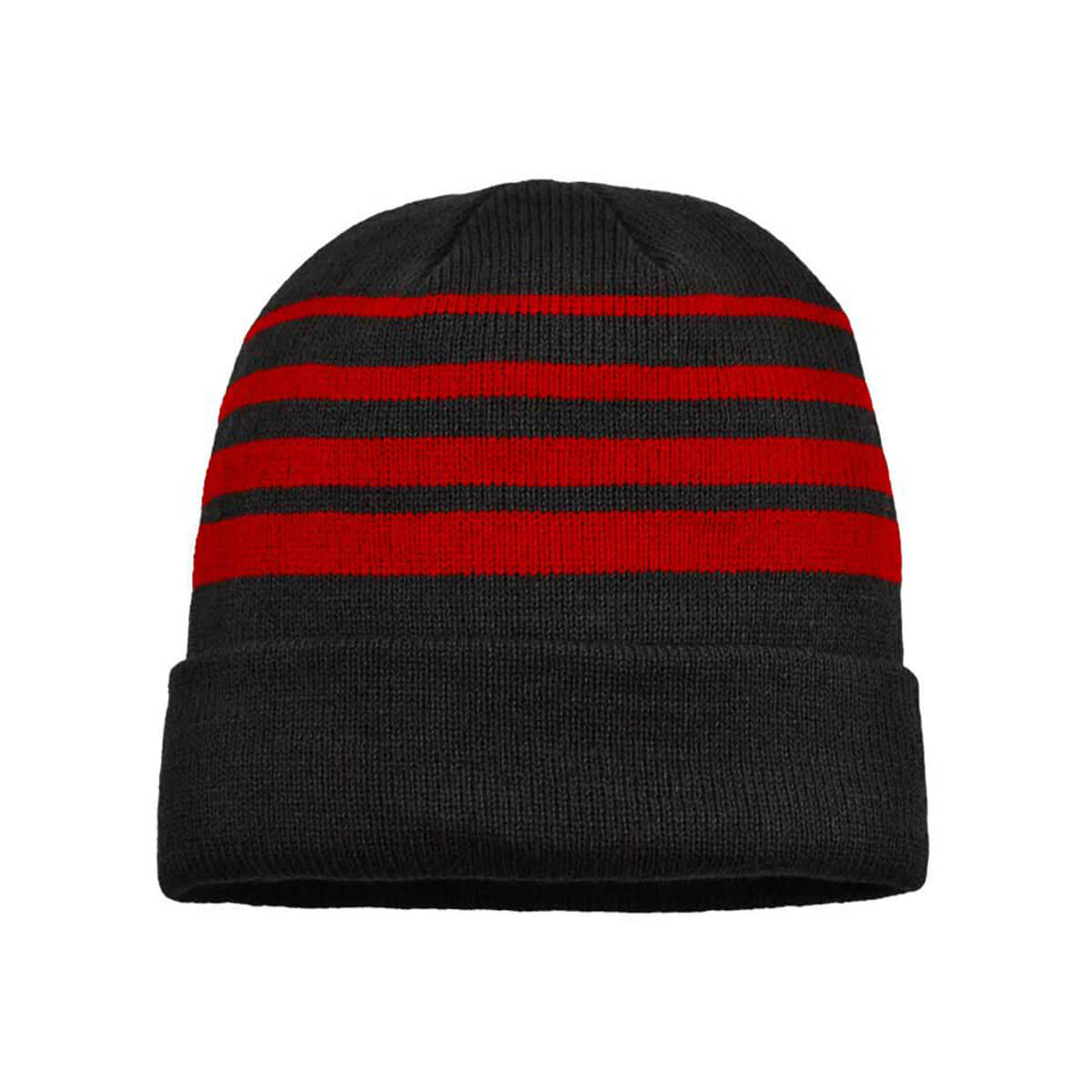 Acrylic Beanie-Black / Red