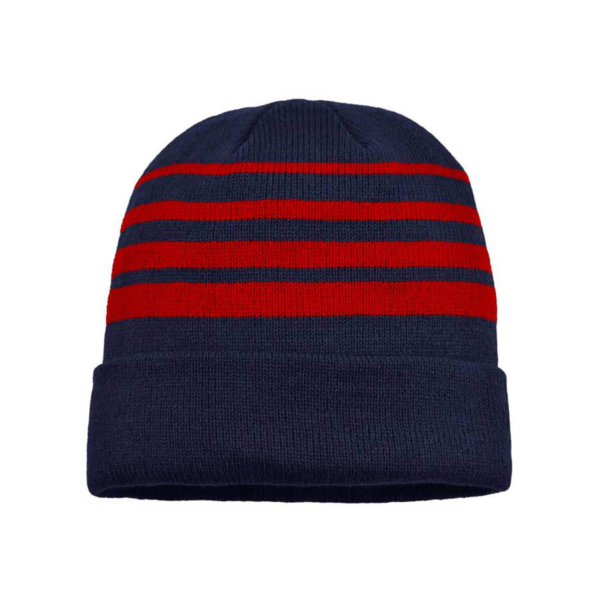 Acrylic Beanie-Navy / Red