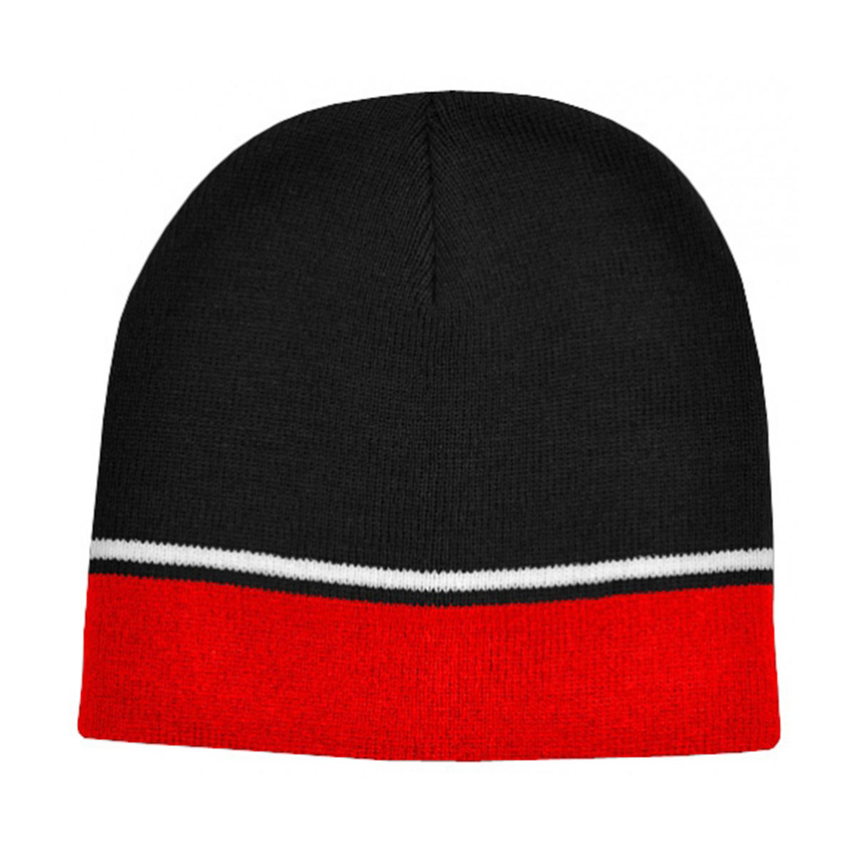 Two-Tone Beanie-Black / White / Red
