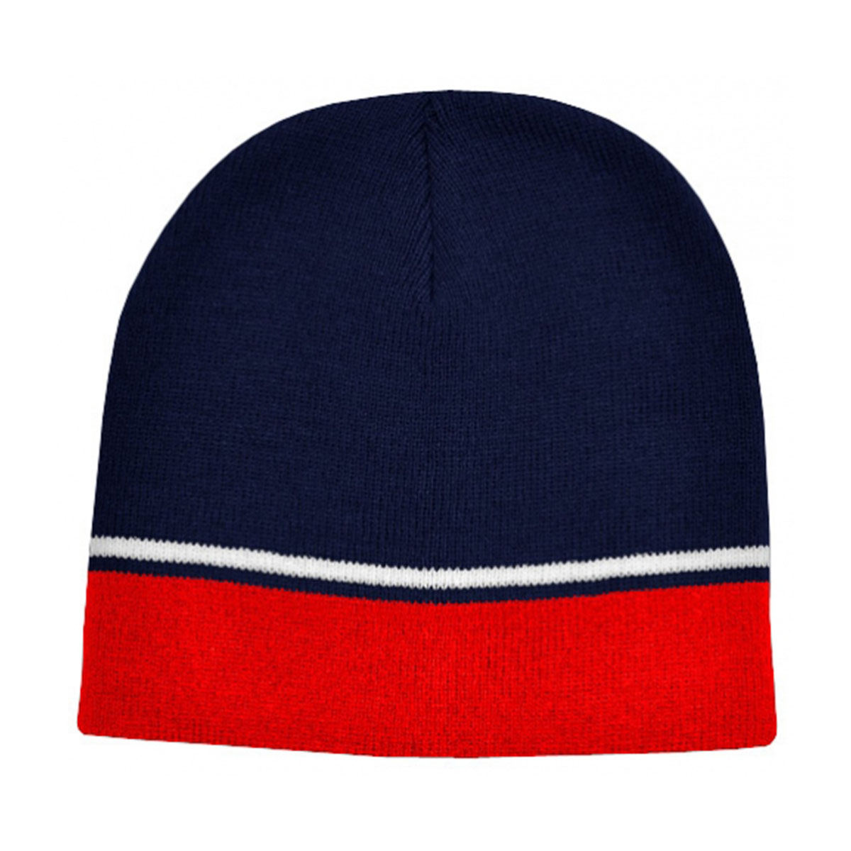 Two-Tone Beanie-Navy / White / Red