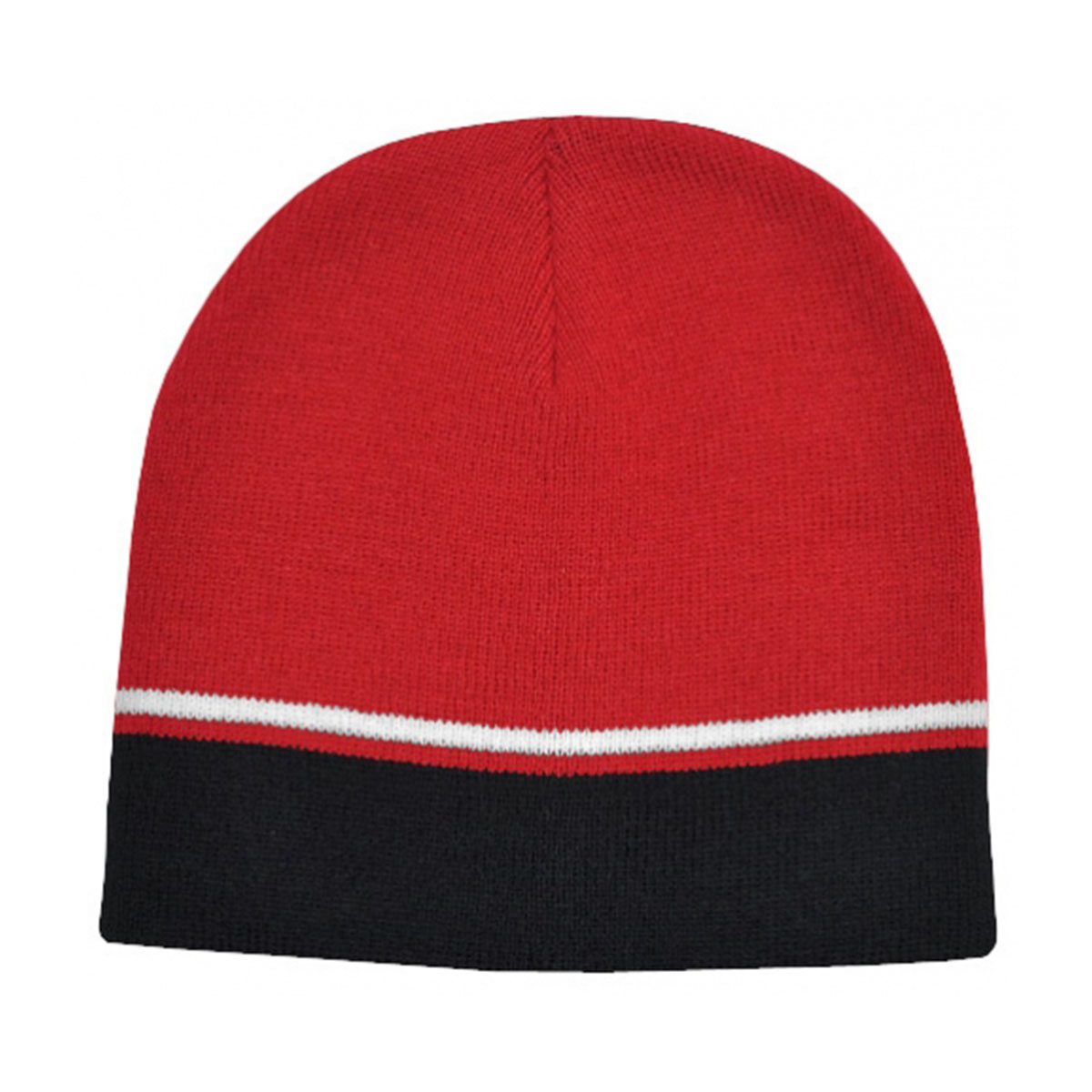 Two-Tone Beanie-Red / White / Black