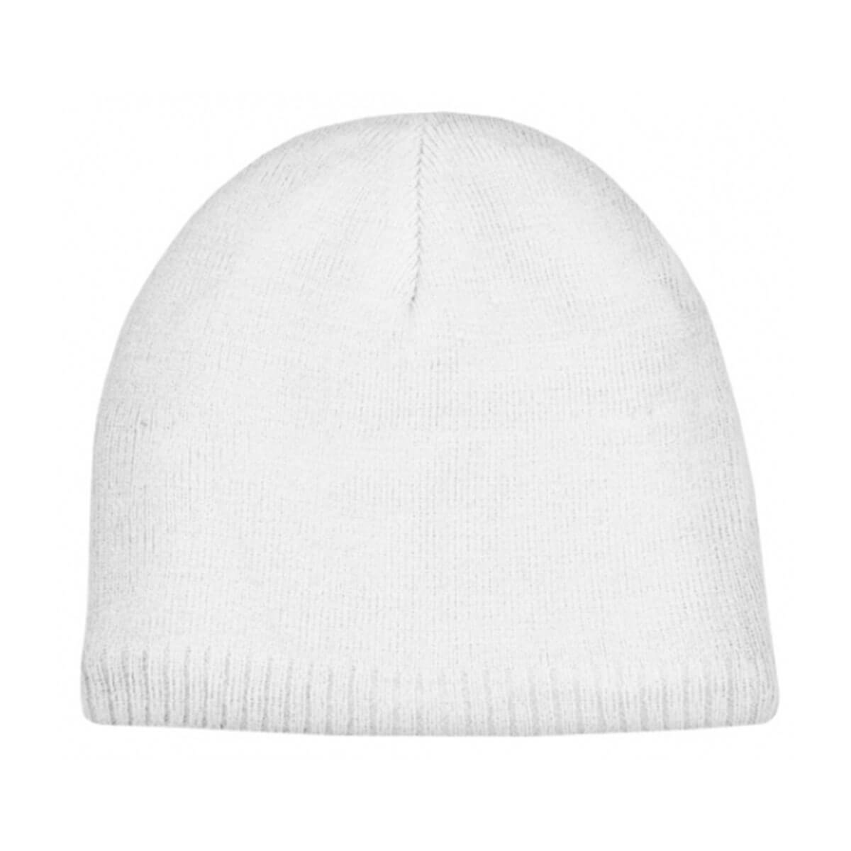 Acrylic/Polar Fleece Beanie-White