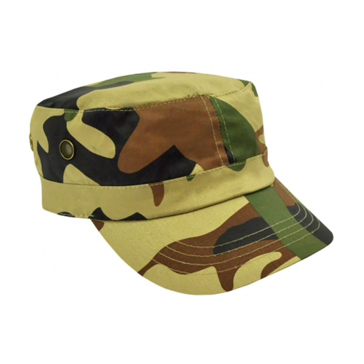 Camo Military Cap-Army Green / Brown