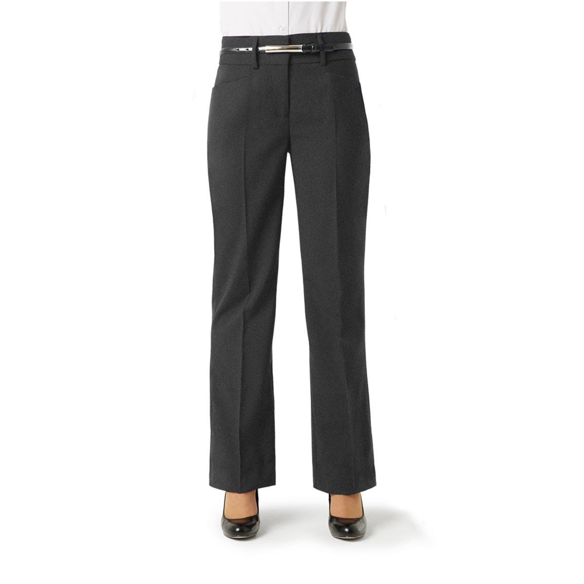 Ladies Classic Bootleg Pant-Charcoal