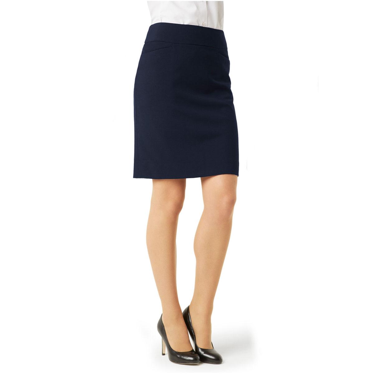 Ladies Classic Knee Length Skirt-Navy