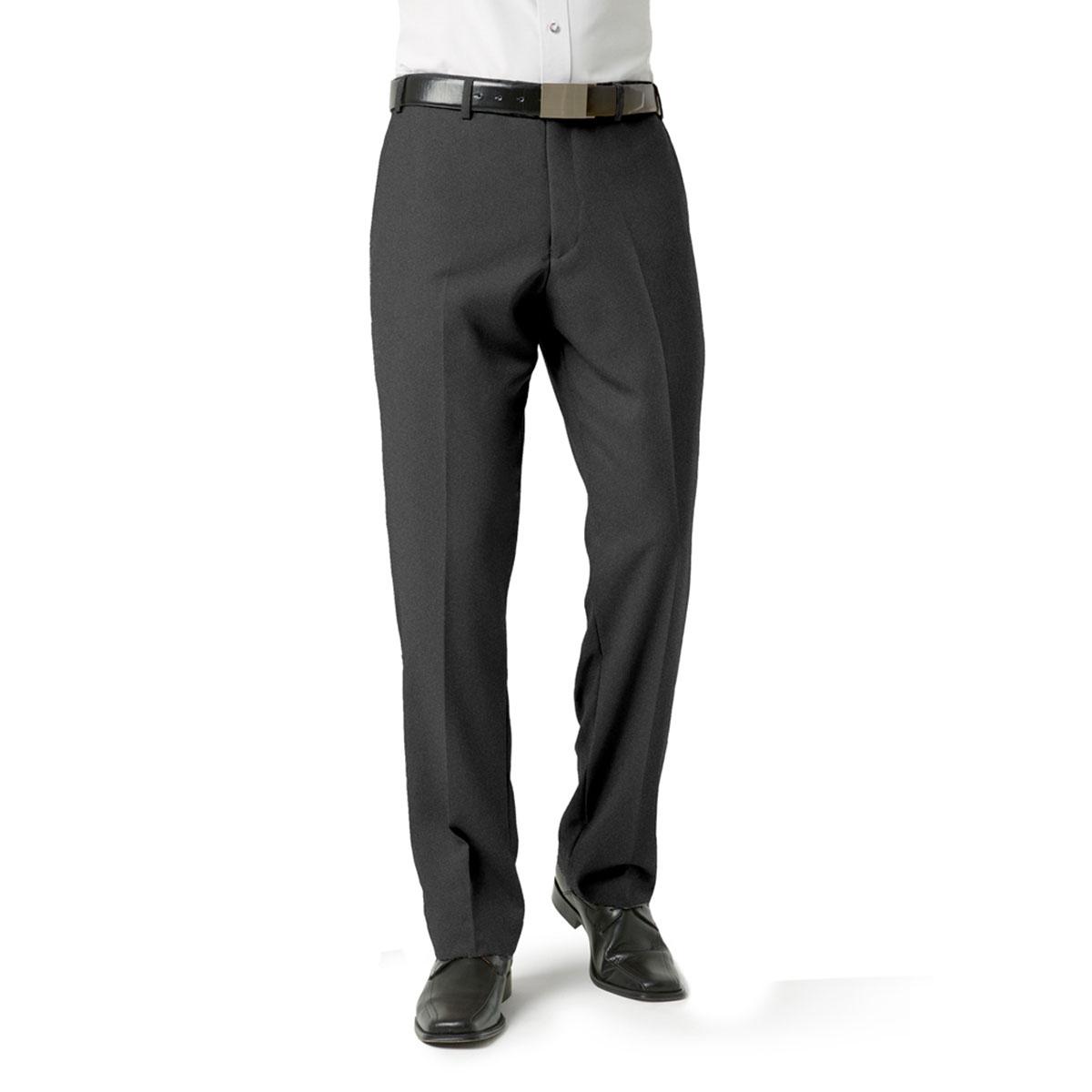 Mens Classic Flat Front Pant-Charcoal