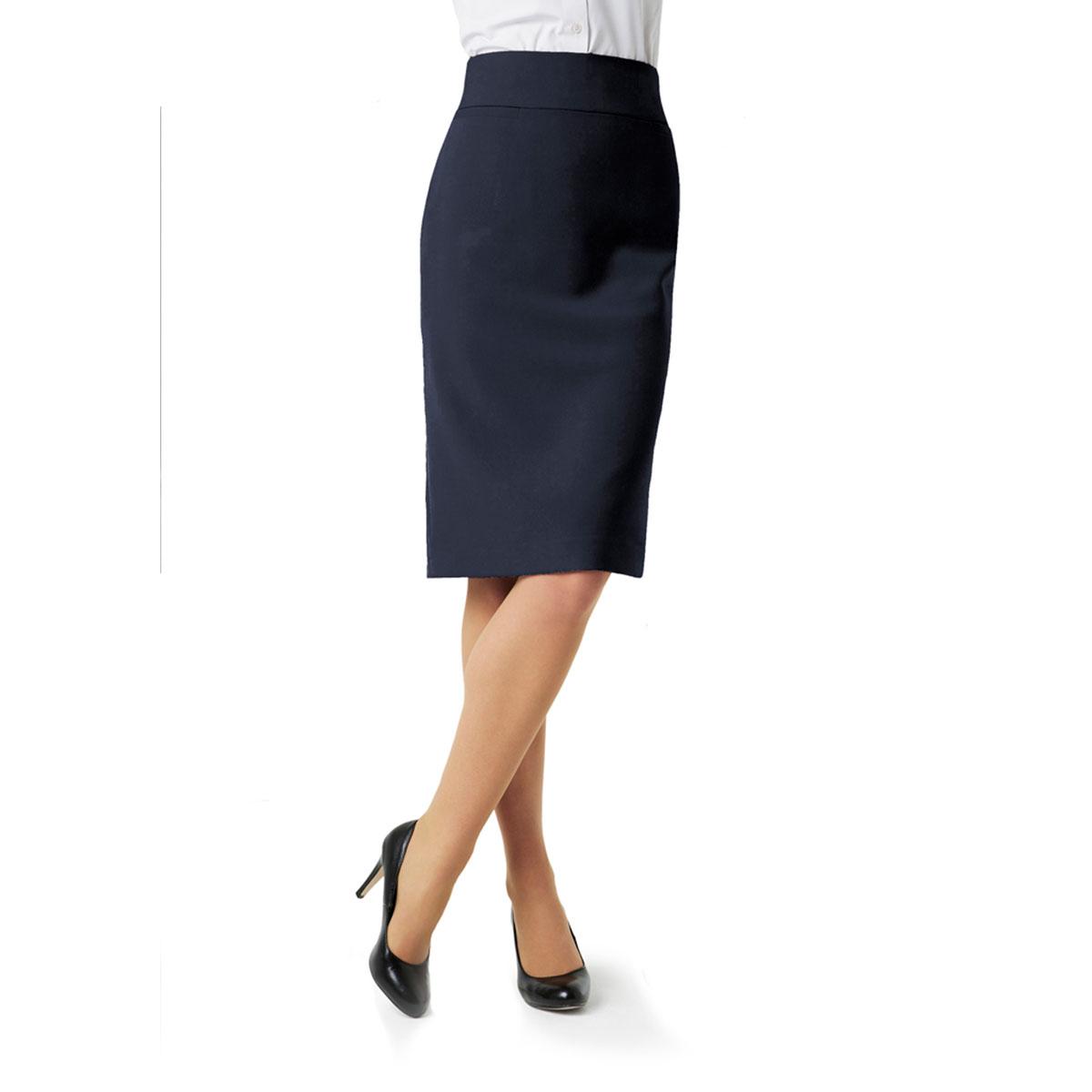 Ladies Classic Below Knee Skirt-Navy