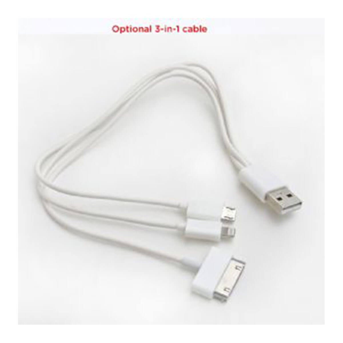 3-in-1 Cable for Power Banks-White
