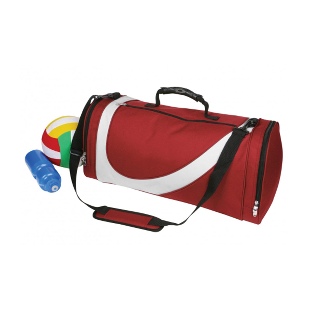 Sports Bag-Maroon / White