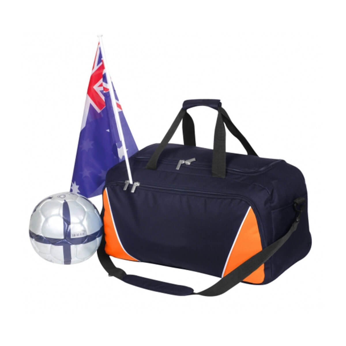 Sports Bag-Navy / White / Orange