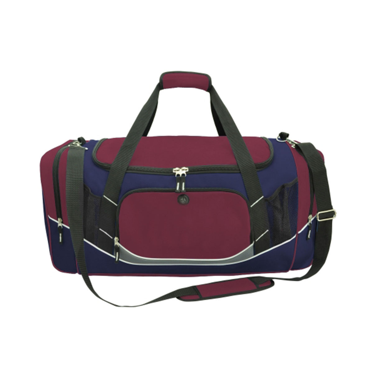 Atlantis Sports Bag-Maroon / Navy / White / Charcoal