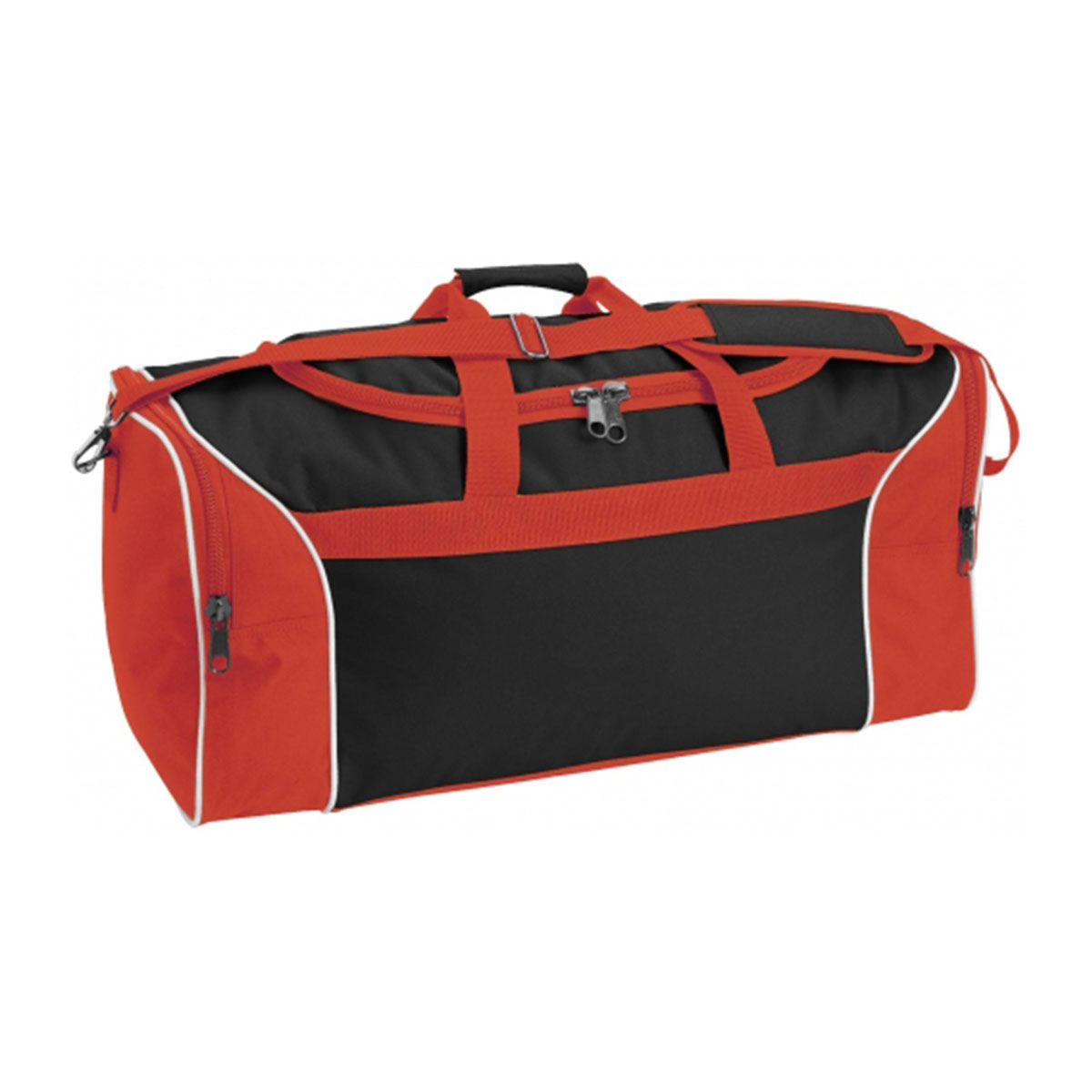 Tri-Colour Sports Bag-Black / White / Red