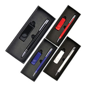 Gift Set with 4Gb Lacquered Rotate Flash Drive & Hawk Pen