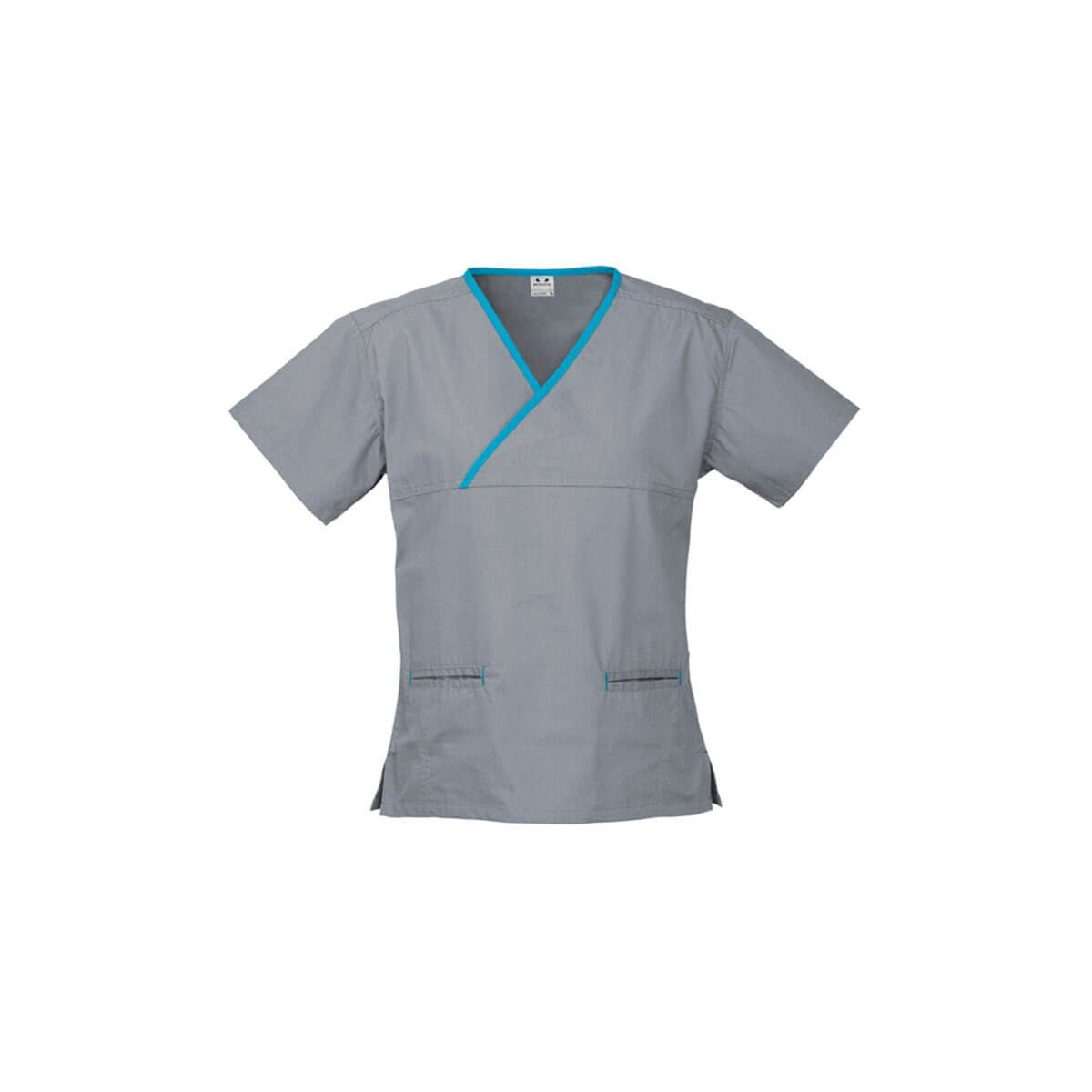 Ladies Contrast Crossover Scrubs Top-Pewter / Aqua