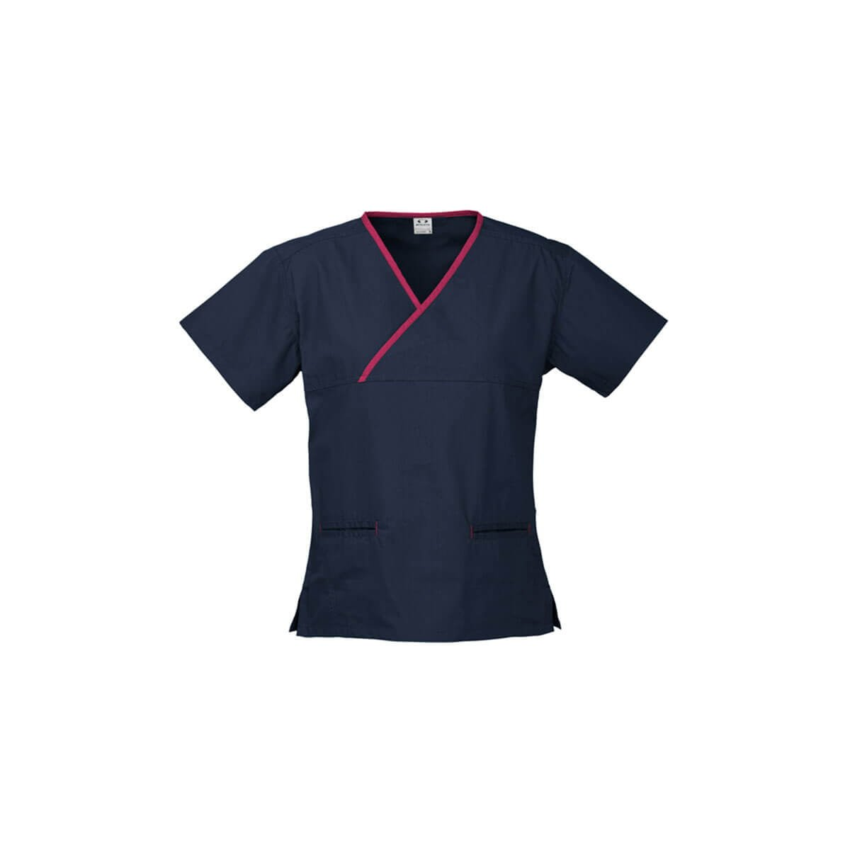 Ladies Contrast Crossover Scrubs Top-Navy / Fuchsia
