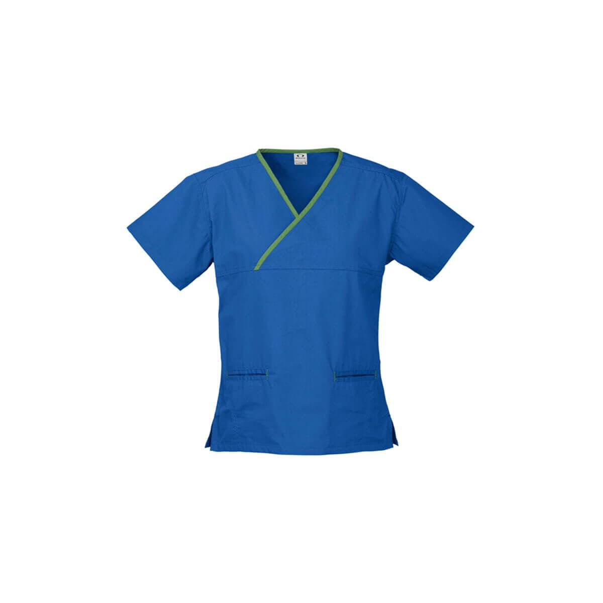 Ladies Contrast Crossover Scrubs Top-Royal / Lime