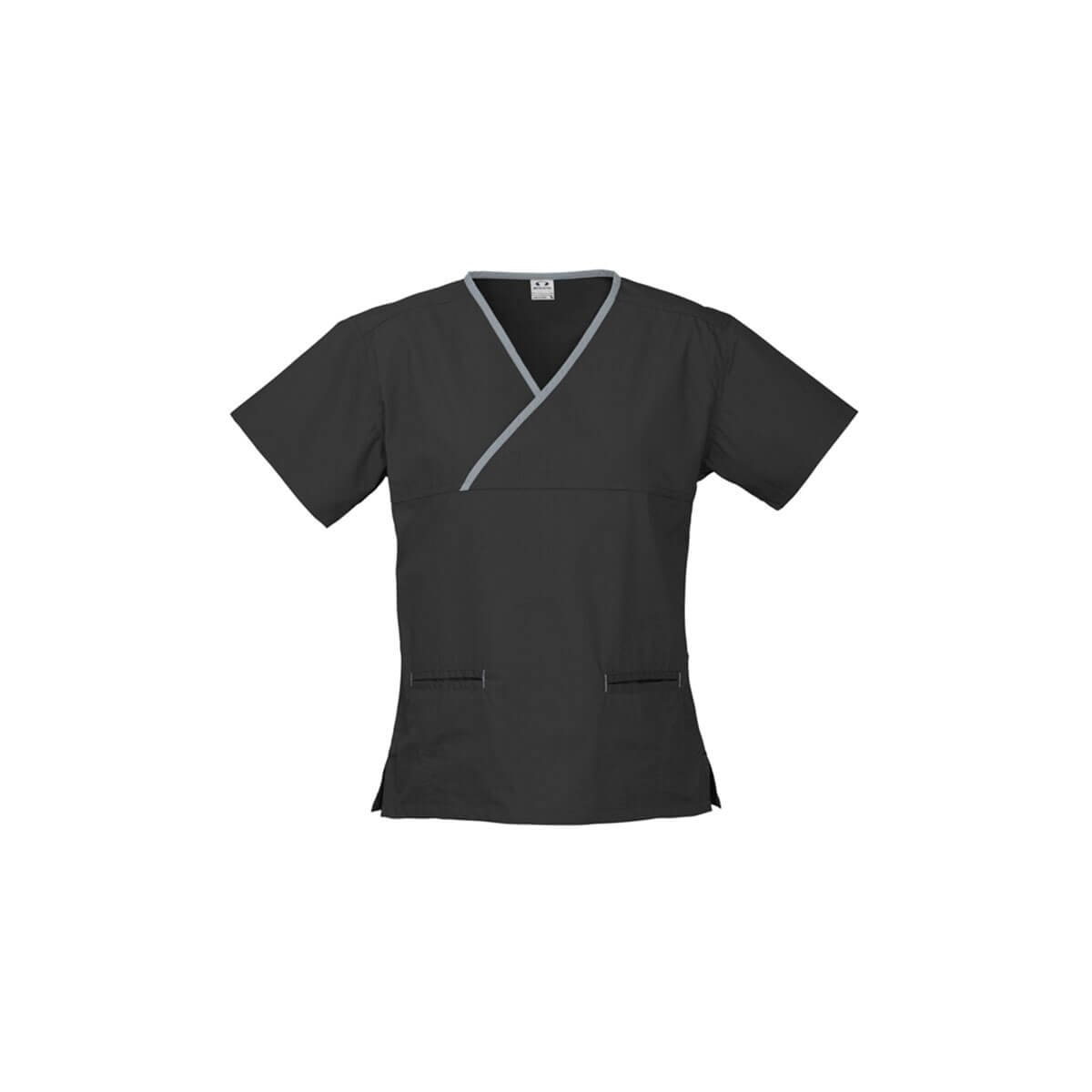 Ladies Contrast Crossover Scrubs Top-Black / Pewter