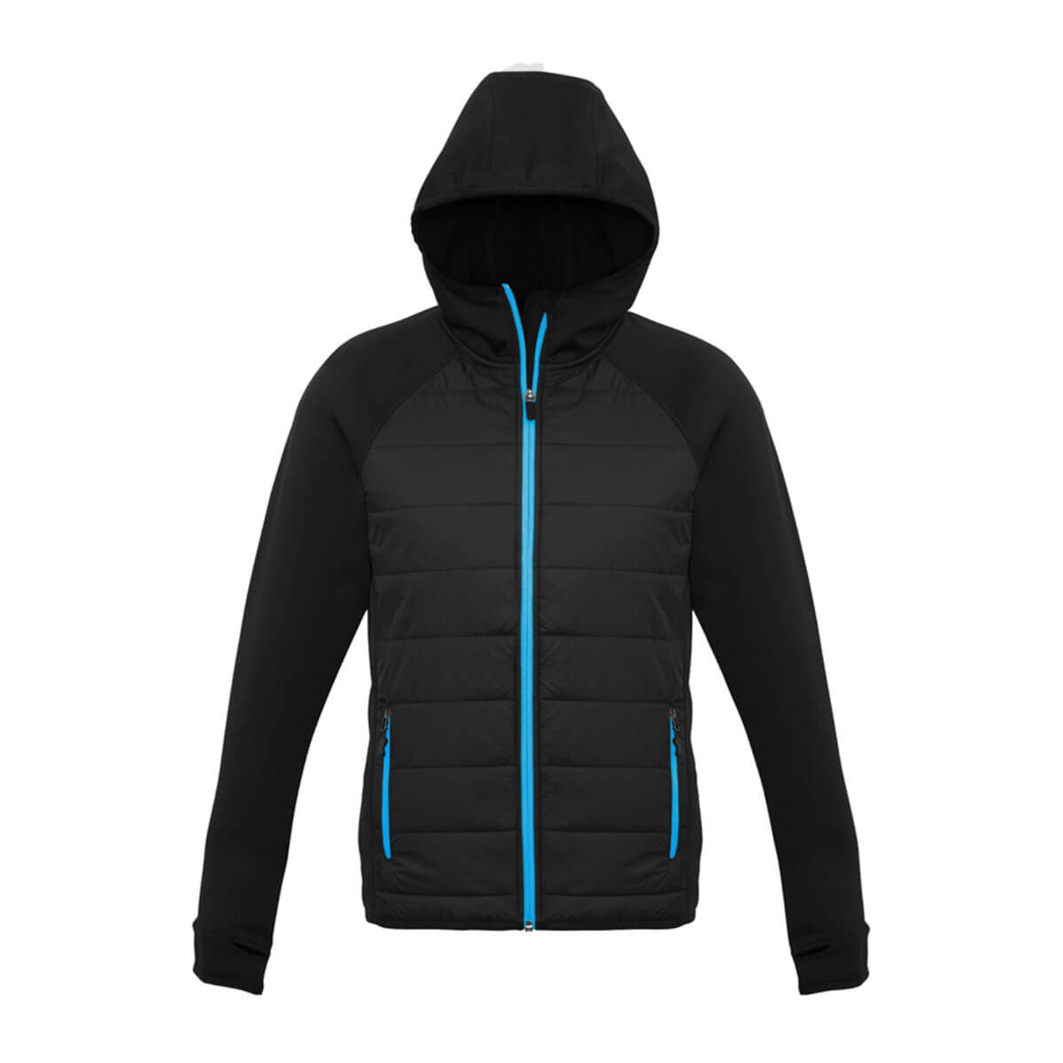 Mens Stealth Tech Hoodie-Black / Cyan