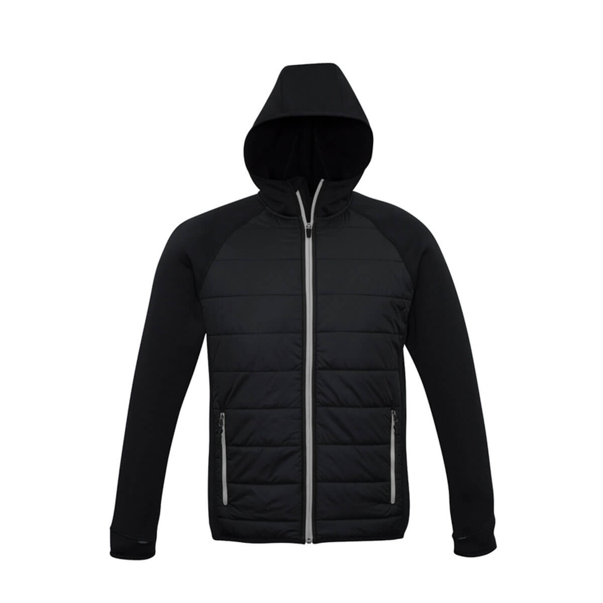 Mens Stealth Tech Hoodie-Black / Silver Grey