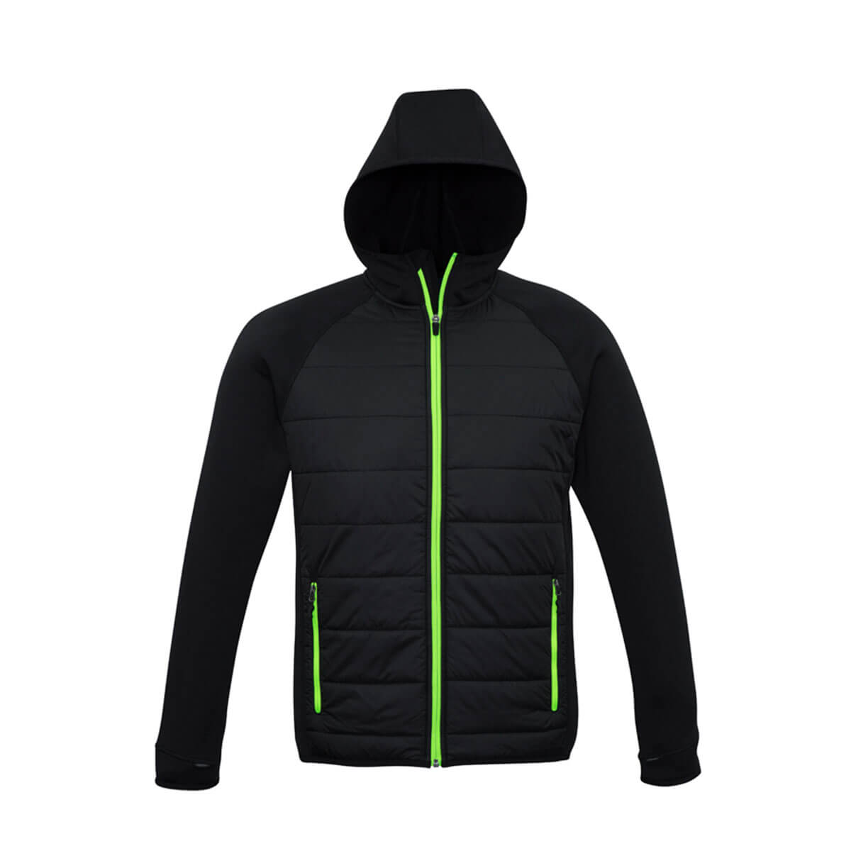 Mens Stealth Tech Hoodie-Black / Lime
