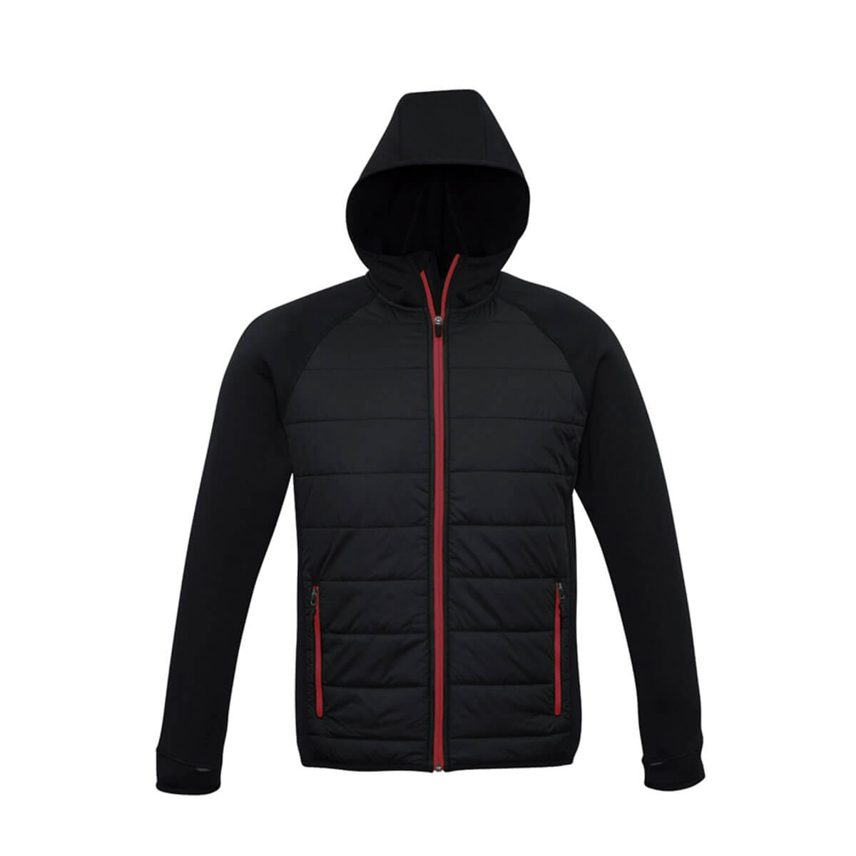 Mens Stealth Tech Hoodie-Black / Red