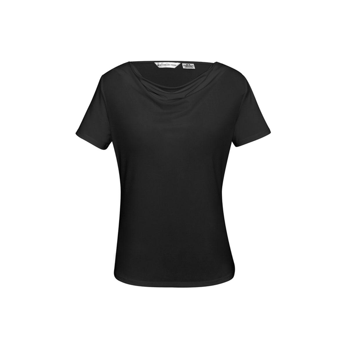 Ladies Ava Drape Knit Top-Black