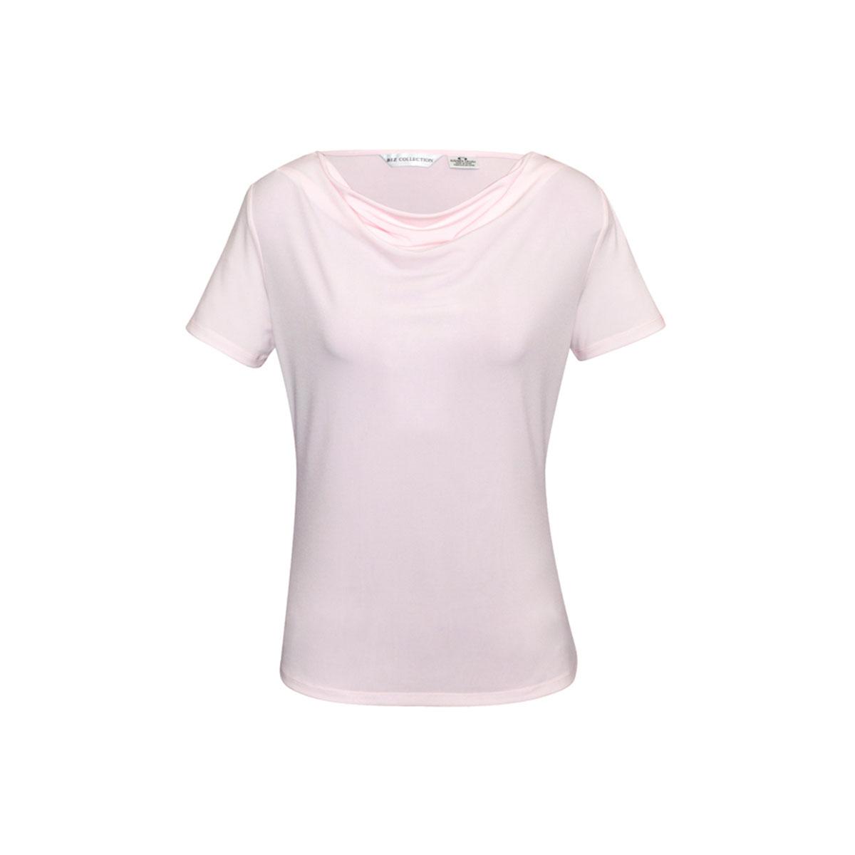 Ladies Ava Drape Knit Top-Blush Pink