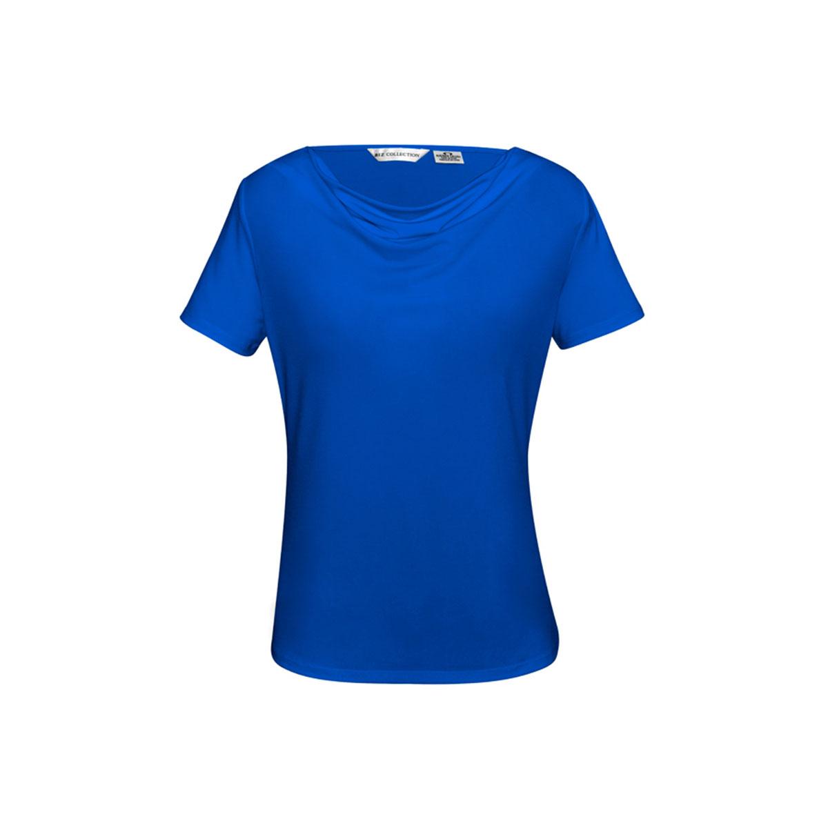 Ladies Ava Drape Knit Top-Electric Blue