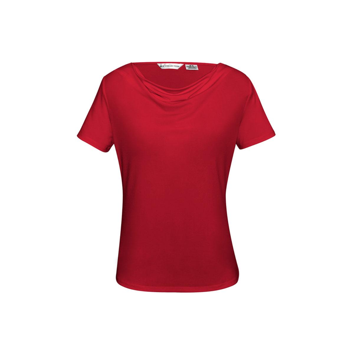 Ladies Ava Drape Knit Top-Red