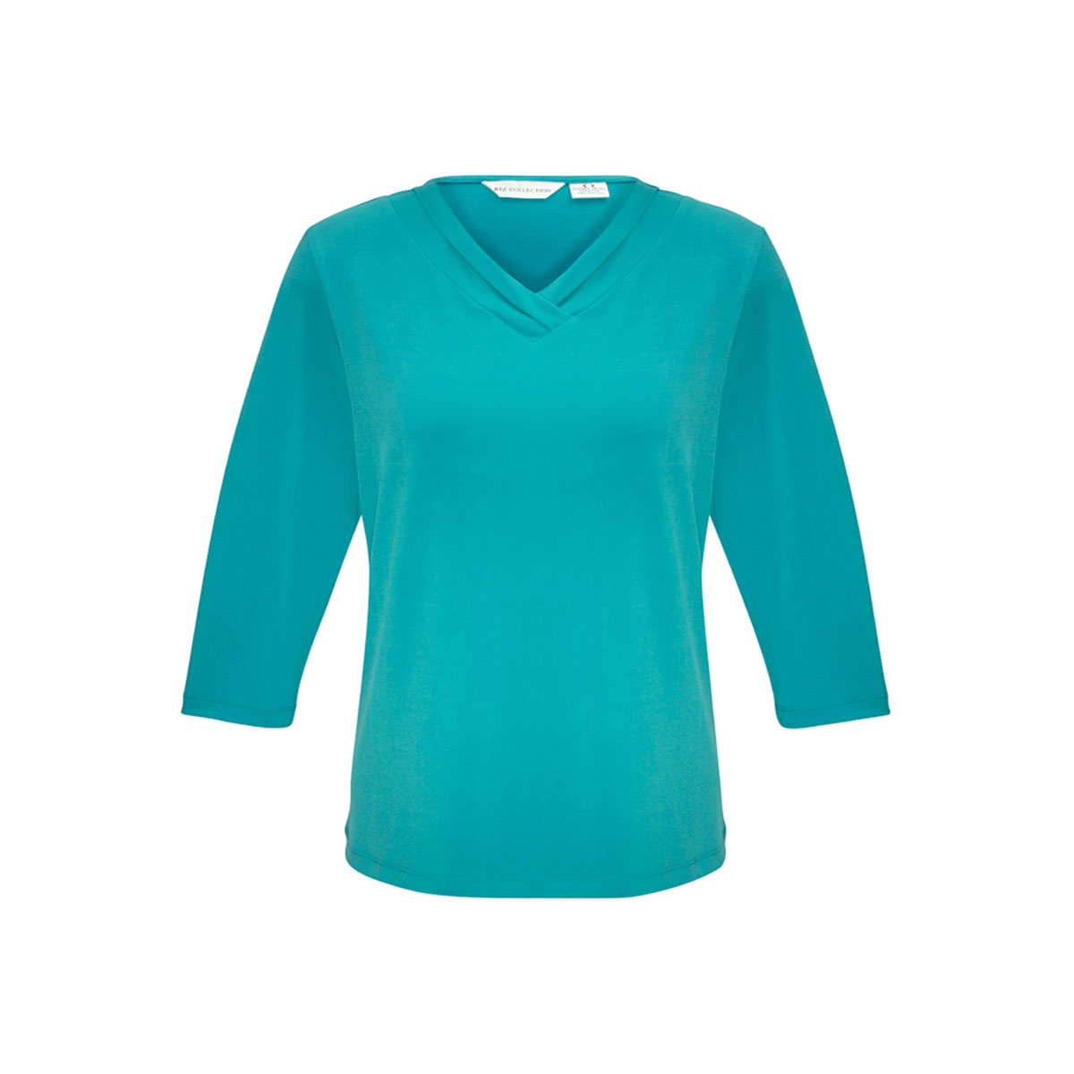 Ladies Lana 3/4 Sleeve Top-Turquoise Blue
