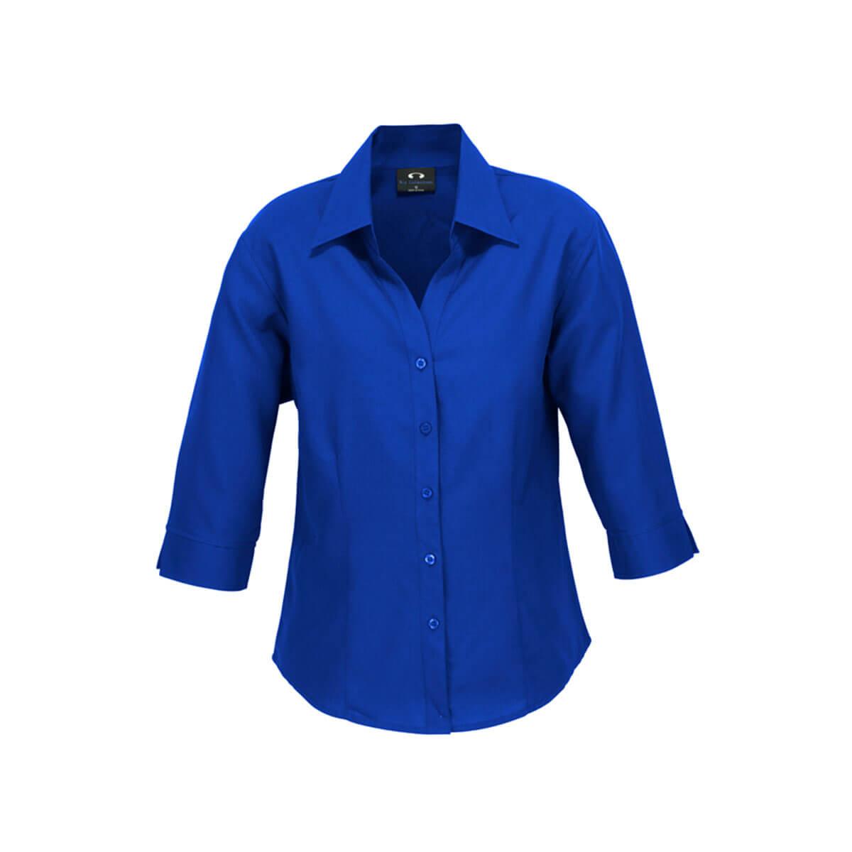 Ladies Plain Oasis 3/4 Sleeve Shirt-Electric Blue
