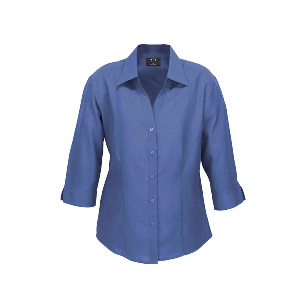 Ladies Plain Oasis 3/4 Sleeve Shirt-Mid Blue