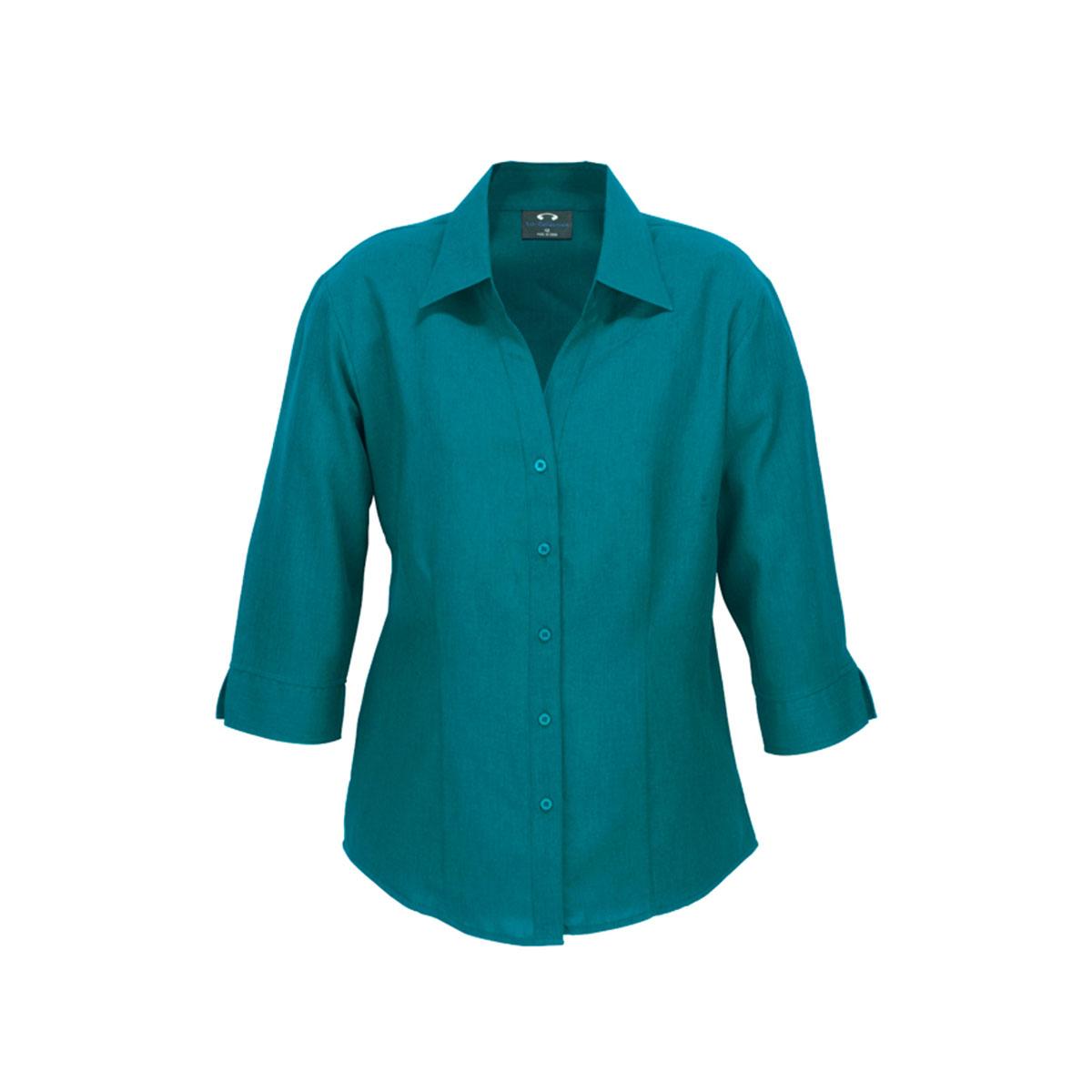 Ladies Plain Oasis 3/4 Sleeve Shirt-Teal