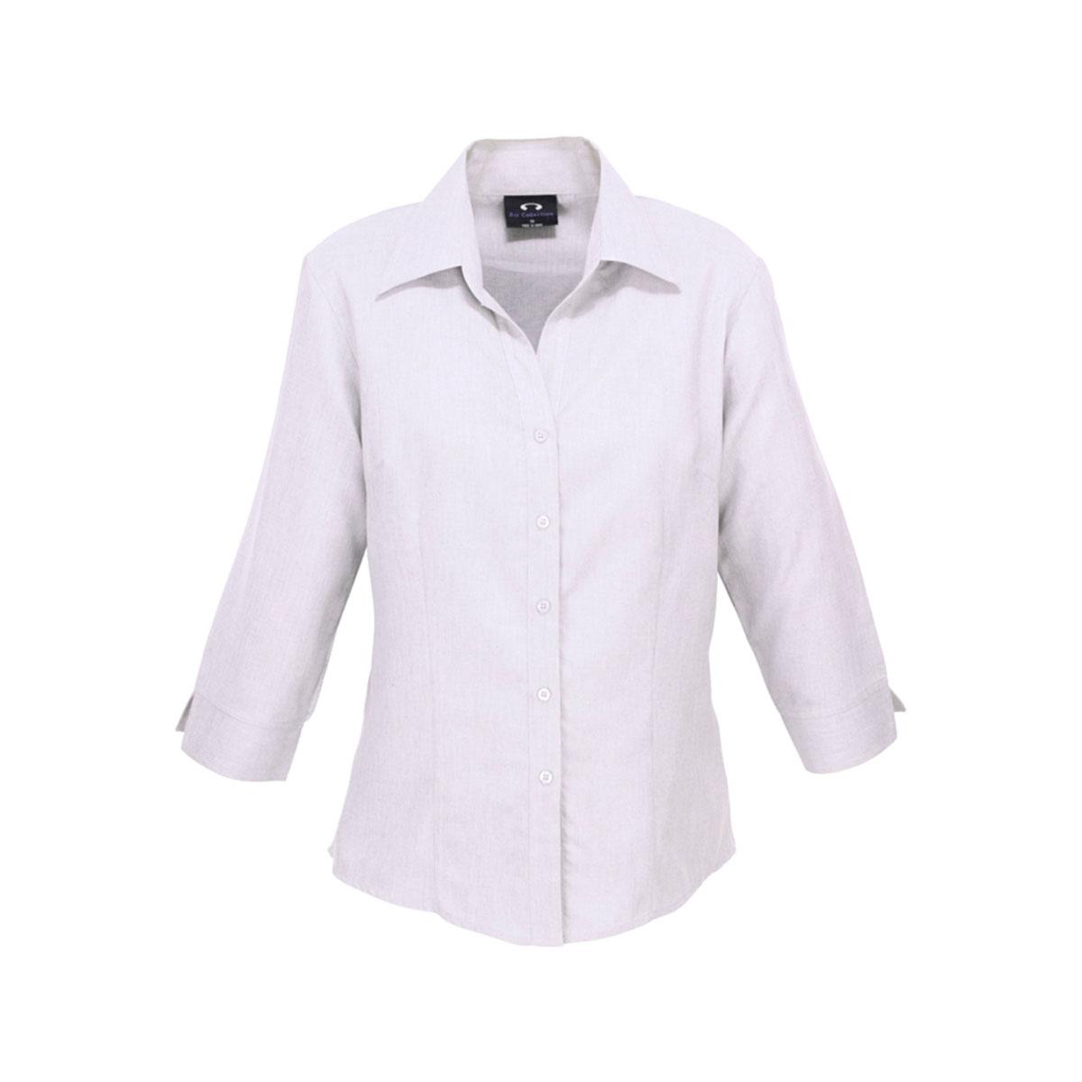 Ladies Plain Oasis 3/4 Sleeve Shirt-White