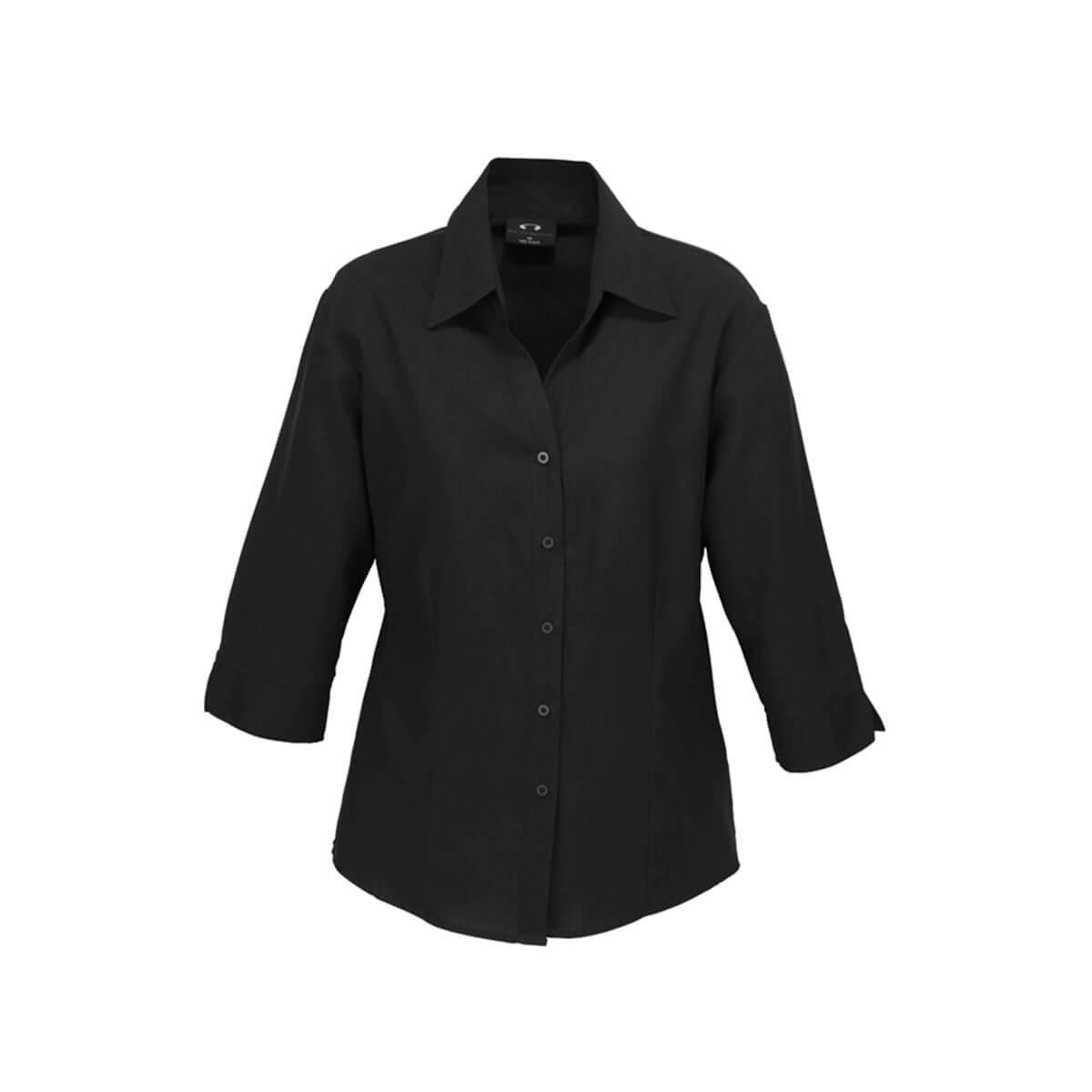Ladies Plain Oasis 3/4 Sleeve Shirt-Black