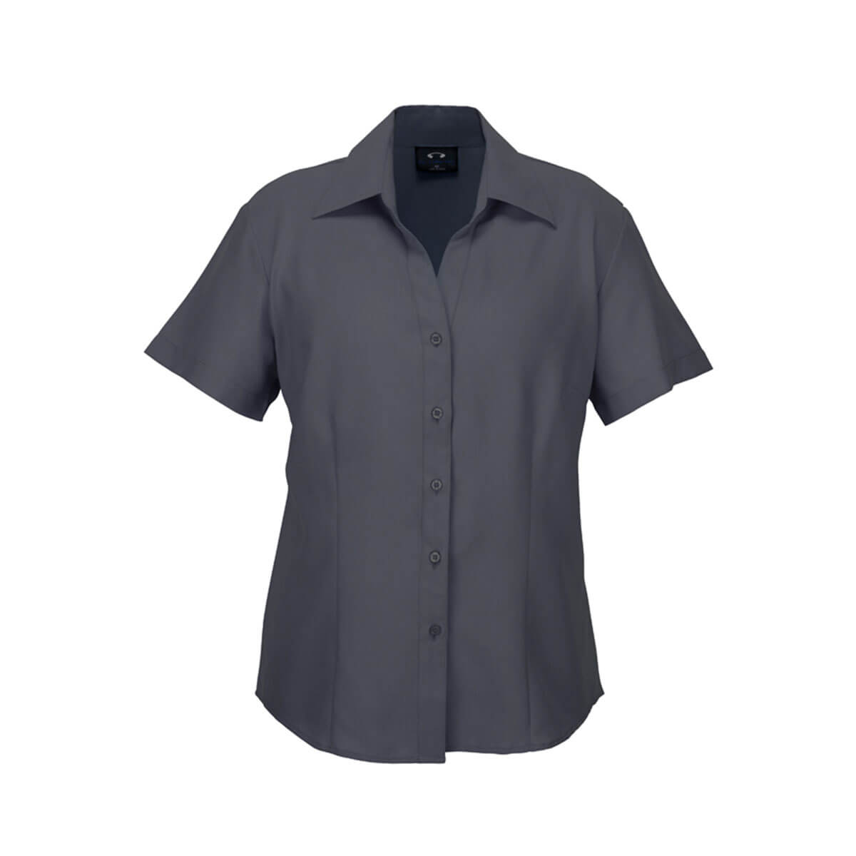 Ladies Plain Oasis Short Sleeve Shirt-Charcoal