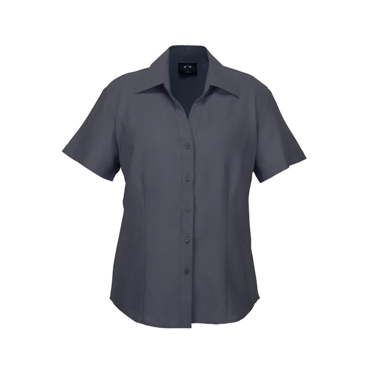 Ladies Plain Oasis Short Sleeve Shirt-Charcoal