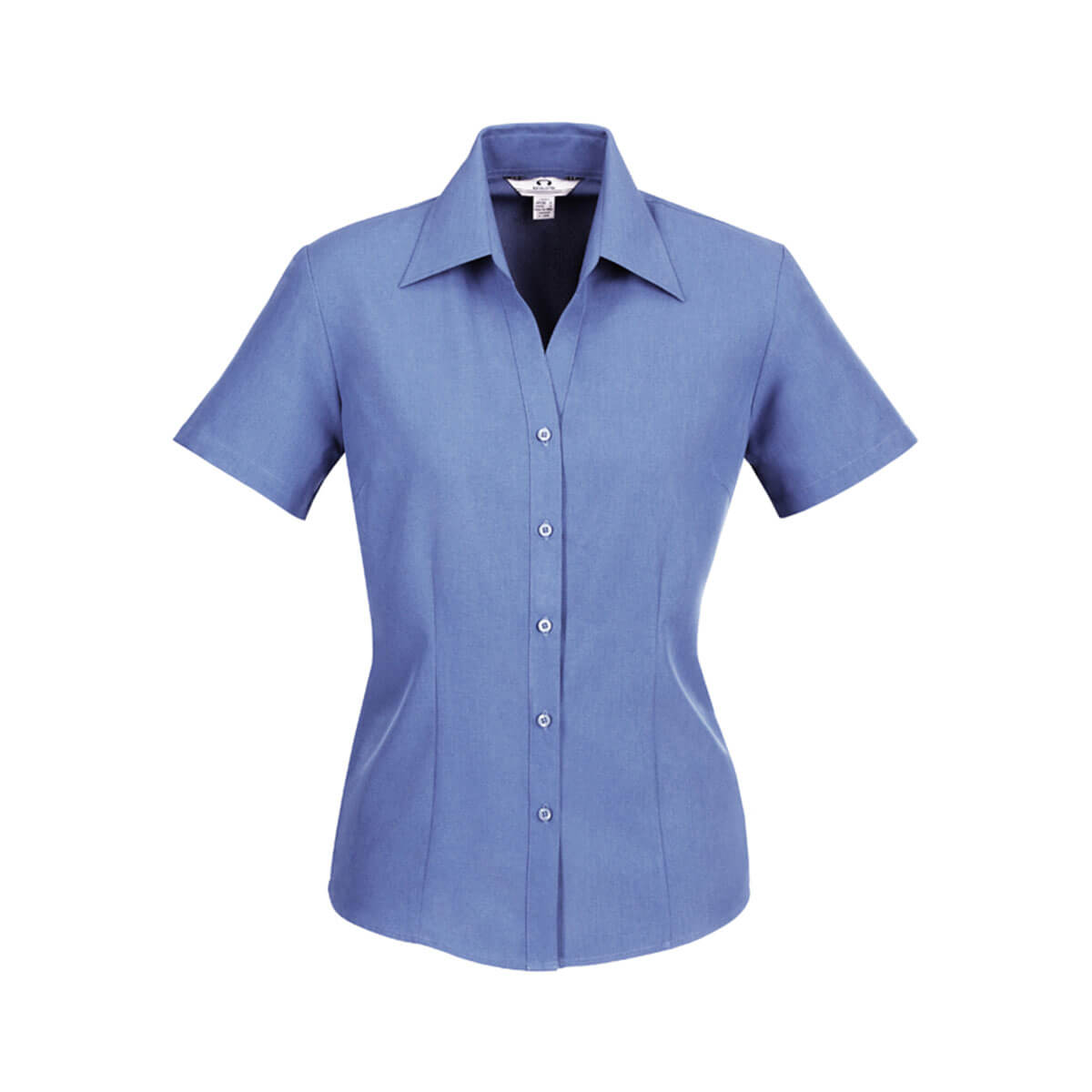 Ladies Plain Oasis Short Sleeve Shirt-Mid Blue