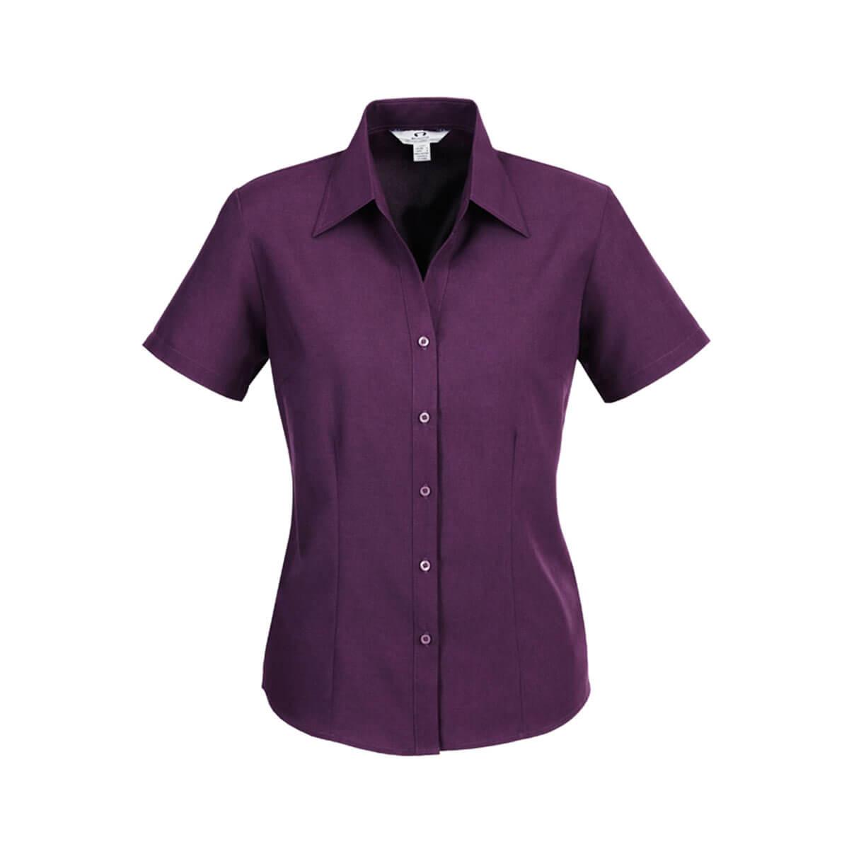 Ladies Plain Oasis Short Sleeve Shirt-Grape